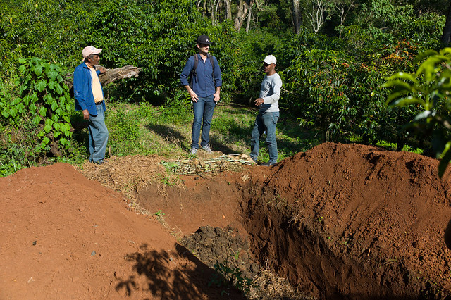 Peter discussing compost with Akmel and Befekadu