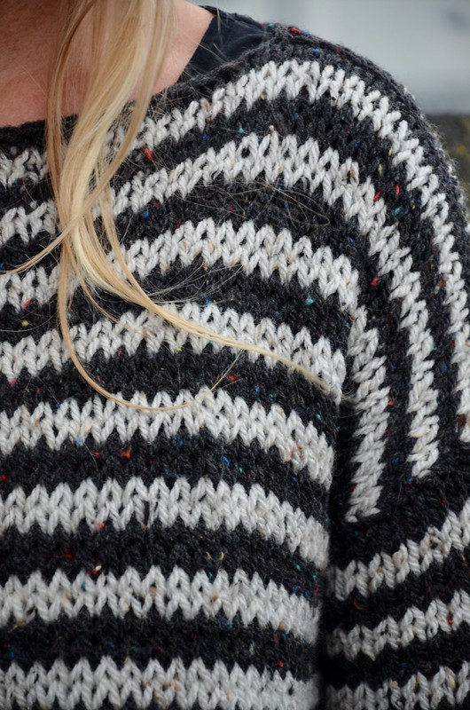 wood & wool knitted striped sweater