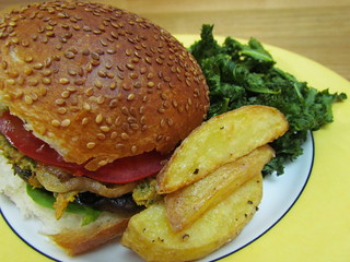Grilled Portobello Burger with Sun-Dried Tomato Kale-Hemp Pesto; Lightened-Up Crispy Baked Fries; Perfect Kale Chips