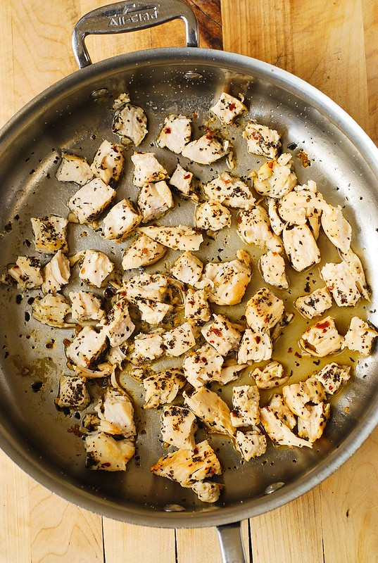 cooking chicken in basil and crushed red pepper