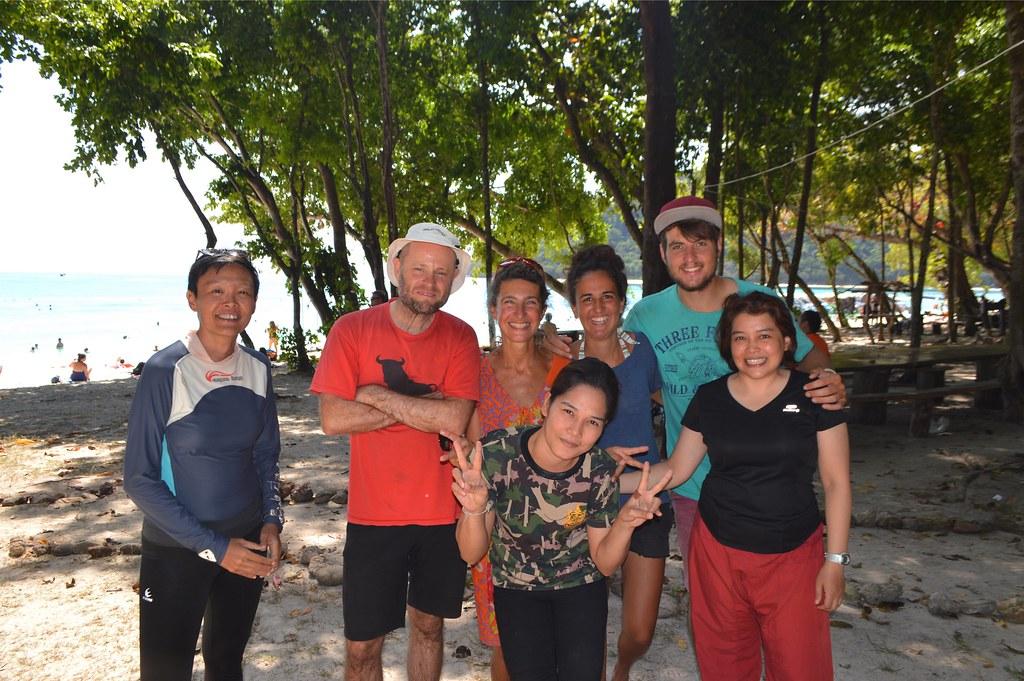 People on Koh Rok, Thai, Australian, Italian and Slovenian. Good times