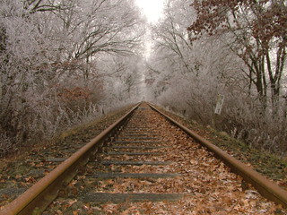 Old railroad tracks at Christmas Eve