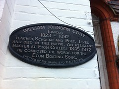 Photo of William Johnson Cory black plaque