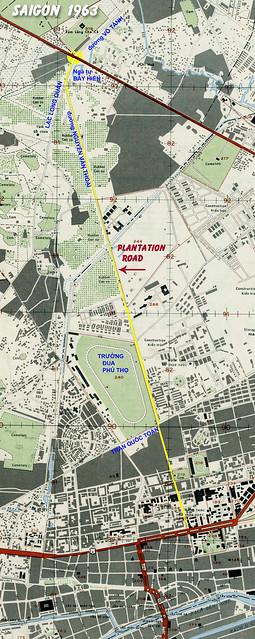 BẢN ĐỒ SAIGON 1963 - Đường Nguyễn Văn Thoại - 'PLANTATION ROAD' - Nay là Lý Thường Kiệt