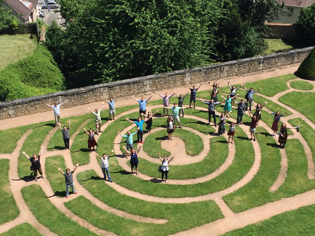 Westminster Kantorei at the outdoor labyrinth at Chartres Cathedral