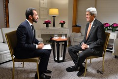 U.S. Secretary of State John Kerry participates in an interview with Bahman Kalbasi of the BBC Persia in New York City on October 2, 2015. [State Department photo/ Public Domain]
