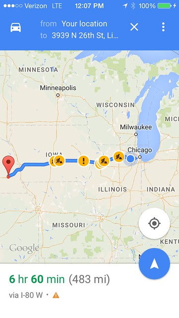 A map to Lincoln, Nebraska from Chicago, IL. This was my guidance; Lincoln was the first stop of the drive.