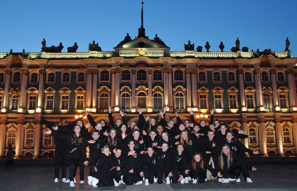 Colorado Children's Chorale at twilight in front of the Winter Palace in St. Petersburg