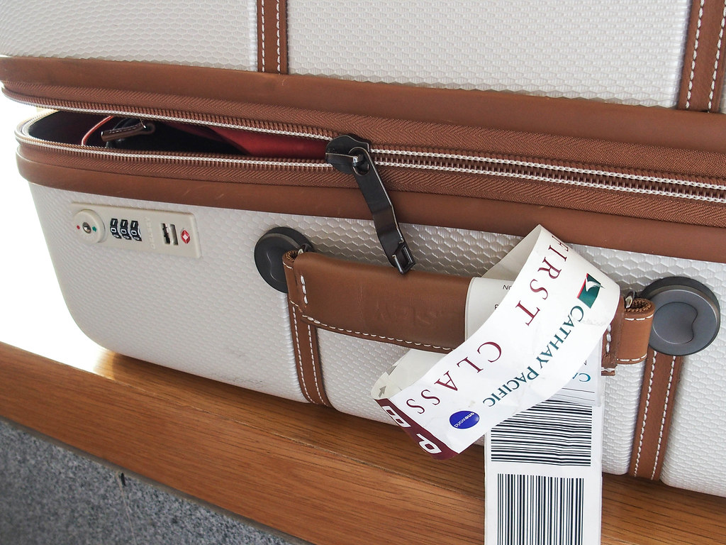 cathay first class delsey luggage