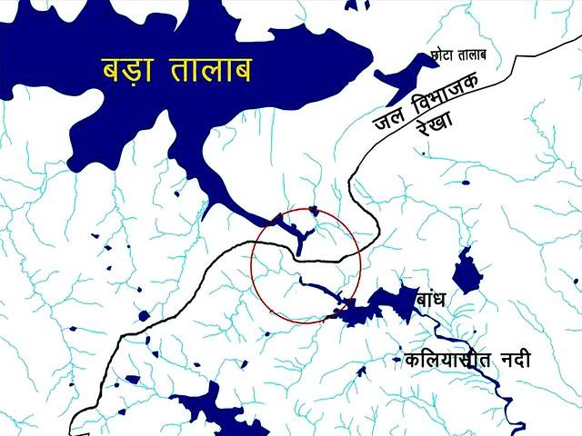 चित्र 13, कलियासोत नदी के उद्गम क्षेत्र का नक्शा