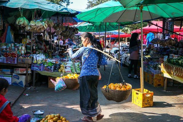 Fruits selling woman in the market, Luang Prabang, laos ルアンパバーン、市場で果物を売り歩く女性