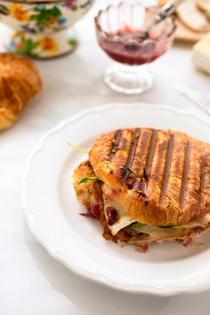 grilled turkey croissant panini
