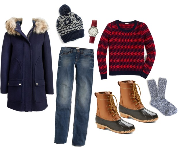 What I Wish I Wore: Snow Day | Style On Target | duck boots, vail parka, stripe sweater