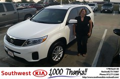 #HappyAnniversary to Allie and your 2015 #Kia #Sorento from Everyone at Southwest KIA Rockwall!