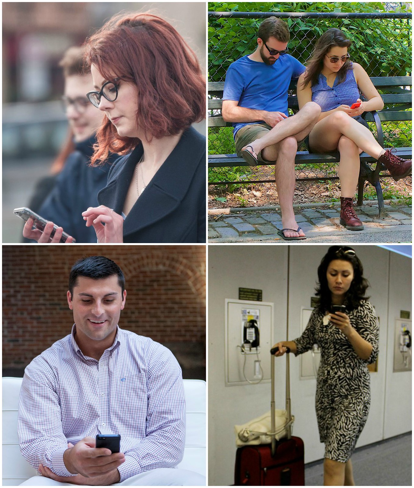 People using smartphones. Photo credits: Matthew Hurst, Ed Yourdon, Vladimir Yaitskiy.