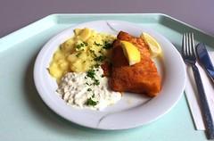 Baked coalfish filet with remoulade & potato s…