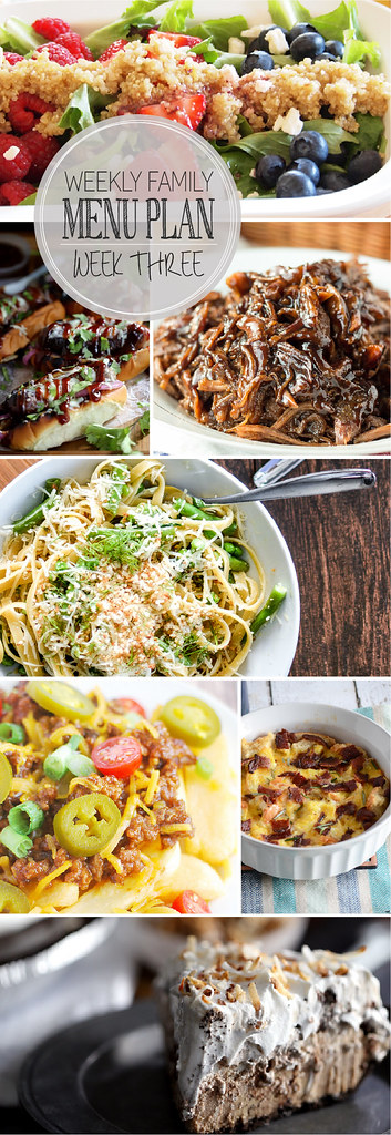 Weekly Family Menu Plan - 5 dinner ideas, a weekend breakfast, and a yummy dessert!