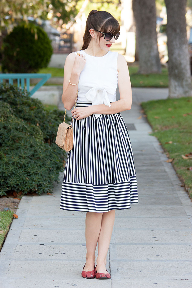 Lookbook Store Striped Skirt, Bow Tied Crop Top, Cork Purse, Red Flats