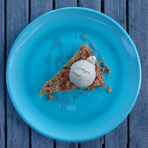 Honey-Poached Apricot Cornmeal Crunch Cake