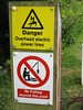 Danger: overhead electric power lines - no fishing