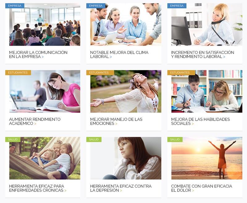 Visual del selector de tipologías de usuario de Mindfulness Web