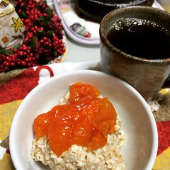 oatmeal with anpogaki...happy sunday♡  #tottori #saijopersimmon #anpogaki #鳥取県 #西条柿 #あんぽ柿