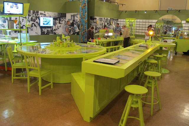 Green tables at To Live and Dine in LA