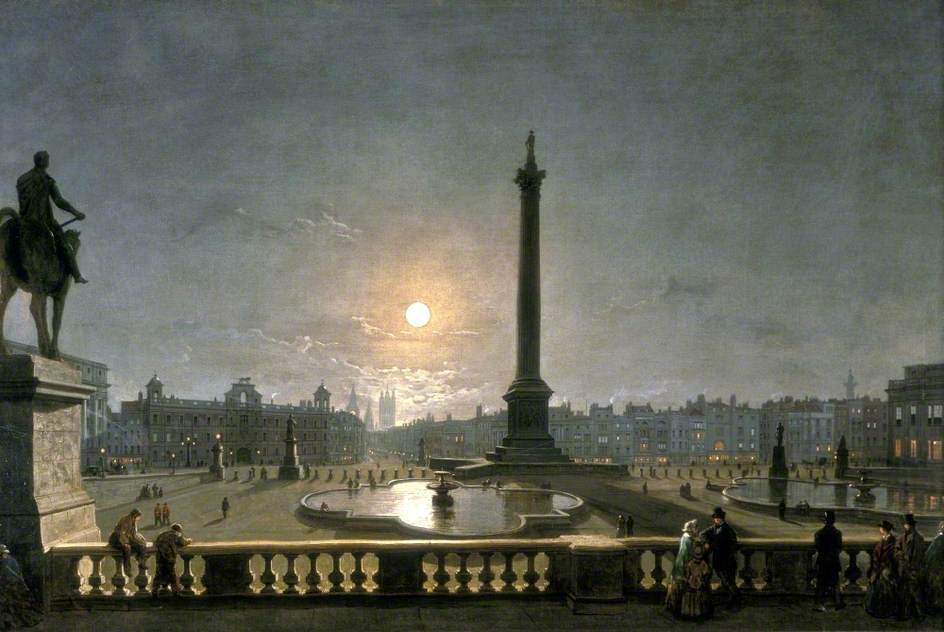 Northumberland House and Whitehall from the North Side of Trafalgar Square, London, by Moonlight by Henry Pether, 1867