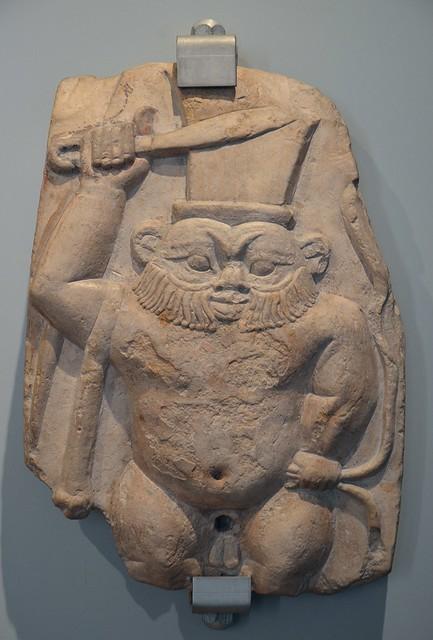 Limestone cippus of Bes, Early Ptolemaic Period, 2rd century BC, Museo di Scultura Antica Giovanni Barracco, Rome