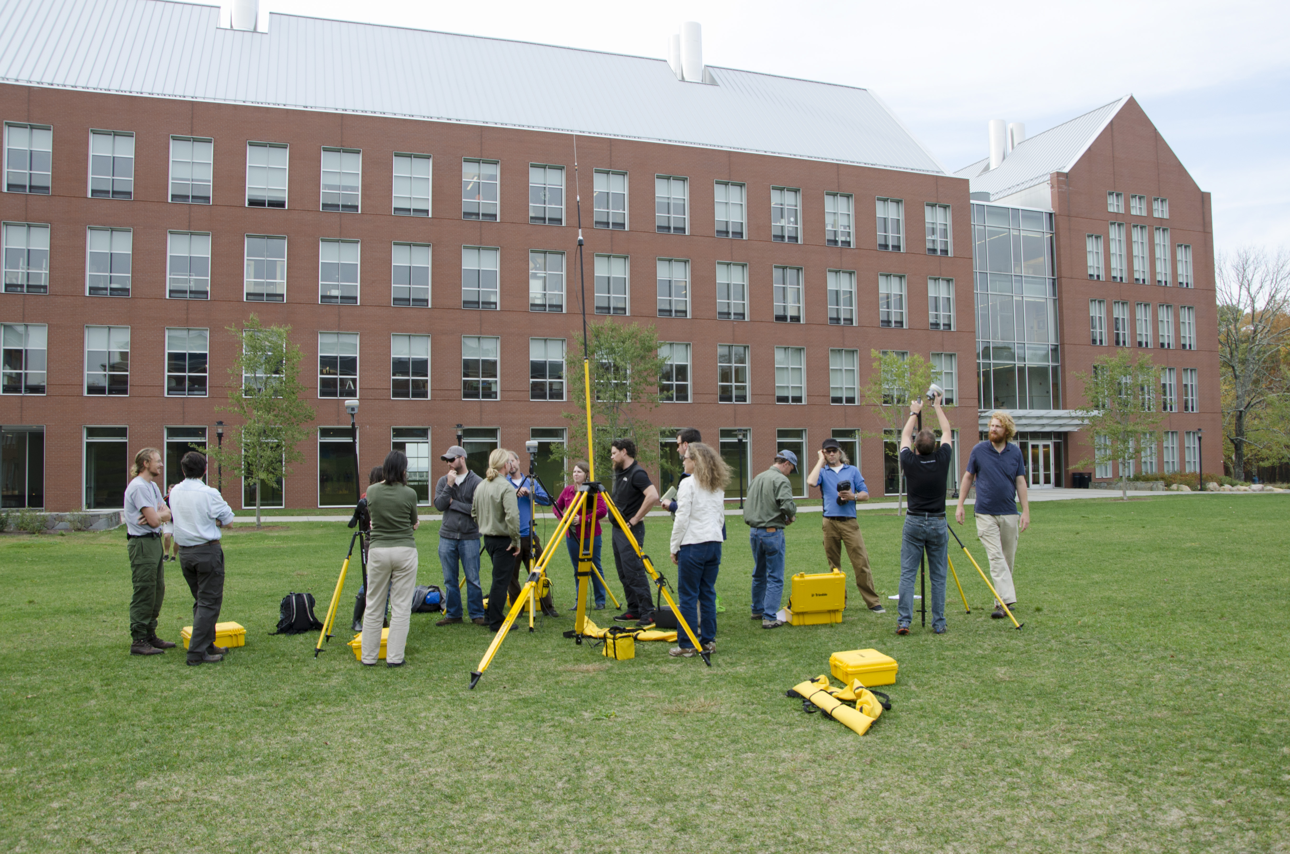 An October 2014 gathering marked the unofficial kickoff to this project. Park scientists and specialists of many stripes—biologists, coastal ecologists, park GIS specialists, NCBN Inventory and Monitoring Program staff, and technicians—convened at the University of Rhode Island (URI) in Kingston, R.I., for a three-day GPS training. NPS photo/E. Nicosia.