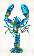 Blue Lobster Art by Sharon Cummings