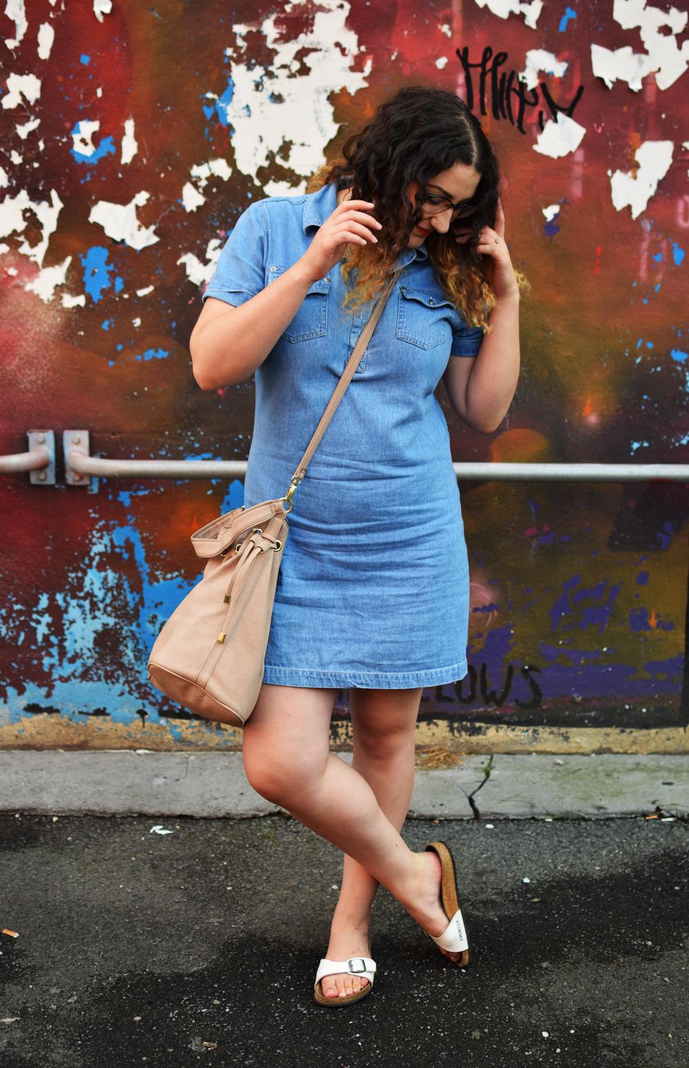 Denim Dress and Birkenstock Madrid Sandals