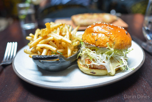 CHICKEN BURGER BRIOCHE, FOIE GRAS, BLACK TRUFFLE MAYONNAISE WITH PICKLES & FRIES
