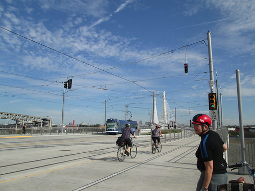 Tillikum Bridge, Beth, streetcar, bicyclists