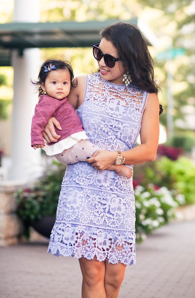 cute & little blog | petite fashion | lavender floral crochet cutout dress, studded nude pumps, mint chandelier earrings