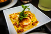 Vieriras A La Plancha - Caramelized Grilled Sea Scallops on a Bed of Pureed Chickepeas - La Tasca