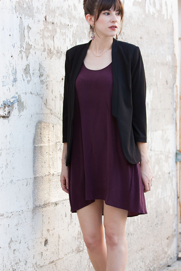 Burgundy Silk Tank Dress, Black Drapey Blazer
