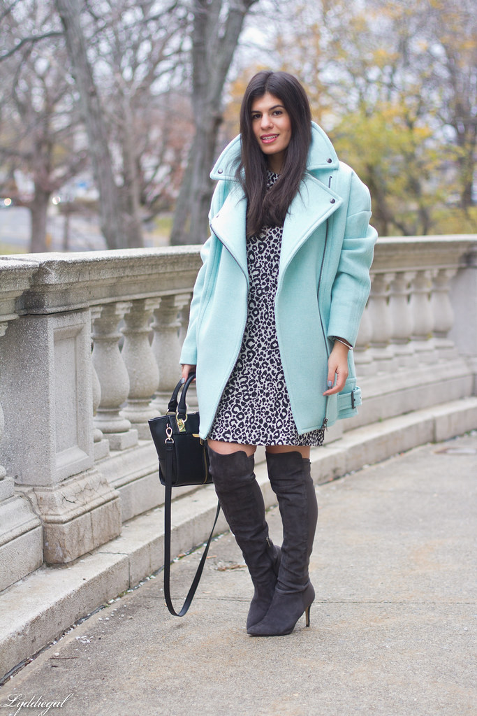 leopard print dress, mint green cocoon coat, over the knee boots-2.jpg