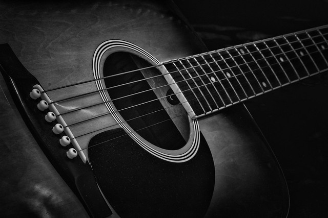 partly guitar in black and white