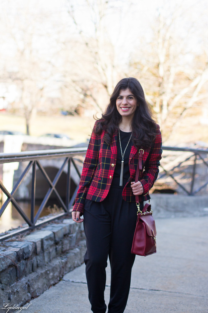 faux jumpsuit, red plaid blazer, red coach bag-4.jpg