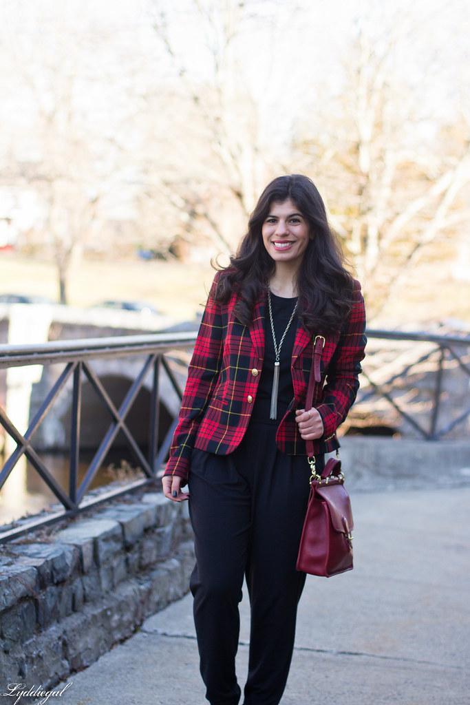 faux jumpsuit, red plaid blazer, red coach bag-4.jpg