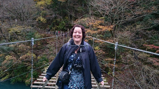 The look of someone who has just crossed a rope suspension bridge!