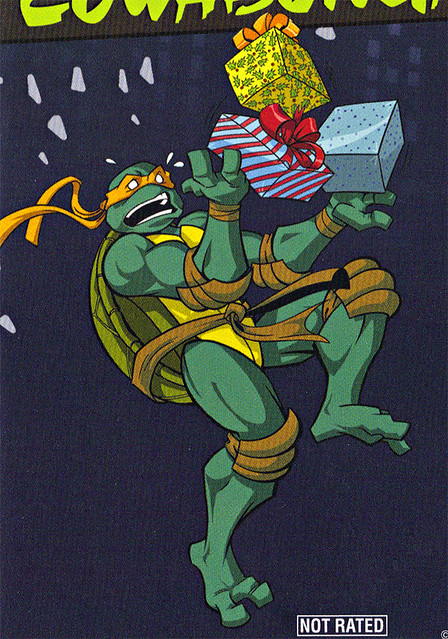 "TEENAGE MUTANT NINJA TURTLES :: COWABUNGA CHRISTMAS!"" // DVD back-cover; MICHELANGELO isolated (( 2015 ))"