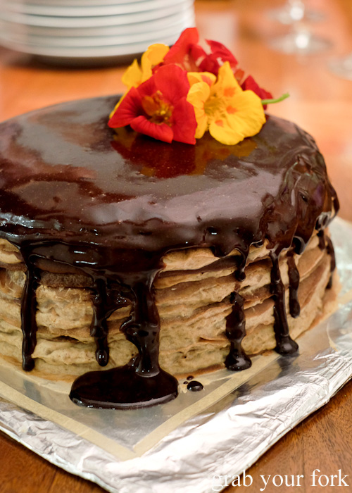 Chocolate crepe cake with chestnut mousse and a chocolate mirror glaze