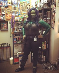 This was my second option for costume this year. My first option was simpler and easier, but it was lost by FedEx! So I went as Gamora from Guardians of the Galaxy. I'm actually green, that isn't a filter. Work had their Halloween festivities today. So he