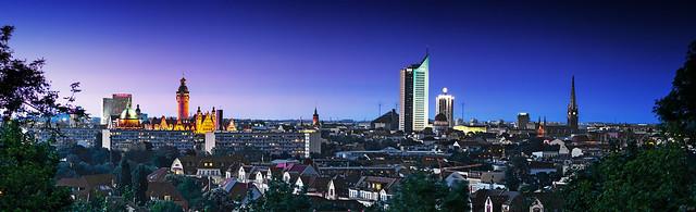 Leipzig Skyline Panorama blue hour