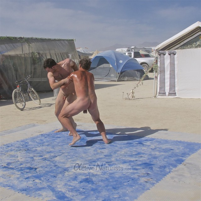 naturist wrestling camp Gymnasium 0013 Burning Man, Black Rock City, NV, USA