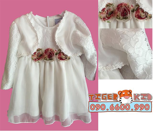M33HOA-Đầm dạ hội Thailand 5-10kg _kèm áo khoác rời (3M-12M)