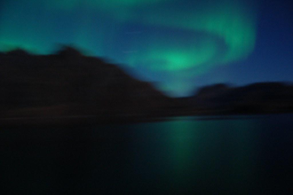 Aurora boreal en el círculo polar ártico