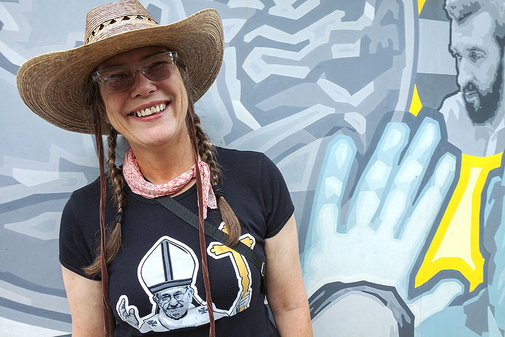 Karen Rodewald during Pope Francis' visit--Center City